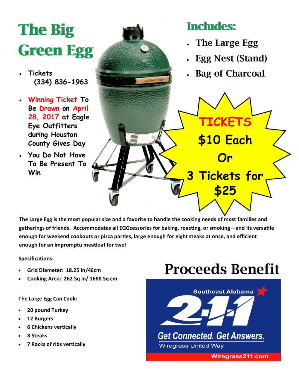 Our Annual Green Egg Grill Raffle – Buy Tickets Today
